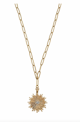 Sunburst Paperclip Chain Necklace in Worn Gold