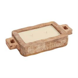 Small Rustic Mango Wood Tray Candle