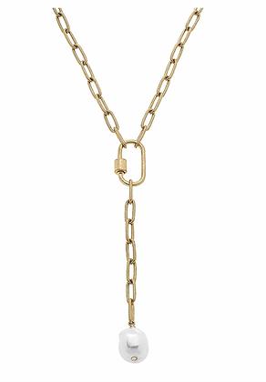 Cadence Baroque Pearl Paperclip Chain Y Necklace