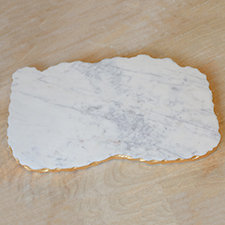 Metz White Marble Board W/ Exquisite Gold Edging