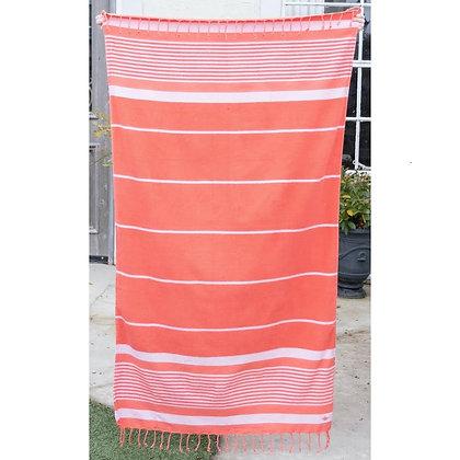 Bahama Stripe Beach Towel in Coral
