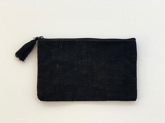 Black Jute Cosmetic Bag
