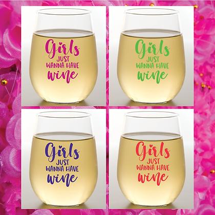 Winey Girls Stemless Wine Glasses