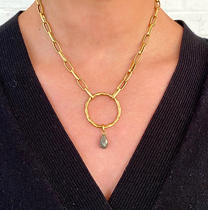 O-Ring Necklace w/ Pyrite Drop