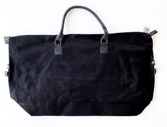 Large Black Leather Look Duffle