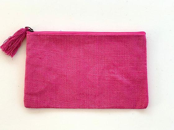 Pink Jute Cosmetic Bag