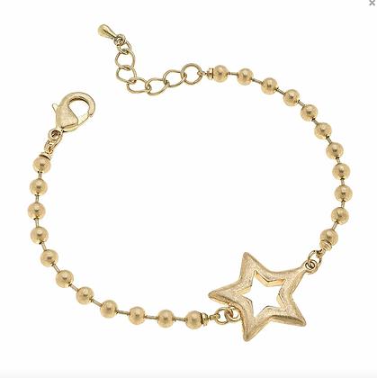 Grace Star Ball Chain Bracelet in Worn Gold