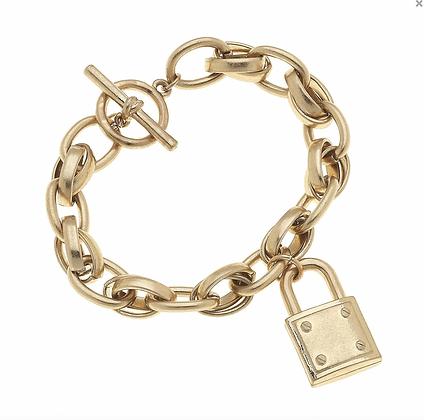 Brandi Padlock Chain Bracelet in Worn Gold