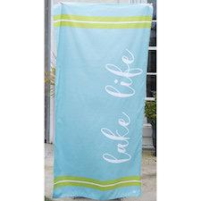 Lake Life Microfiber Beach Towel in Aruba Blue/Lime