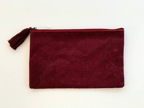 Maroon Jute Cosmetic Bag