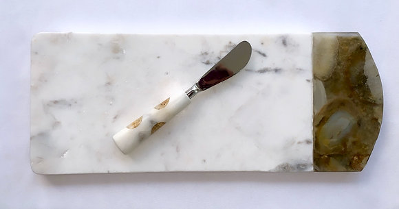 Marble & Agate Serving Board With Spreader