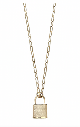 Emerson Padlock Paperclip Chain Necklace in Worn Gold