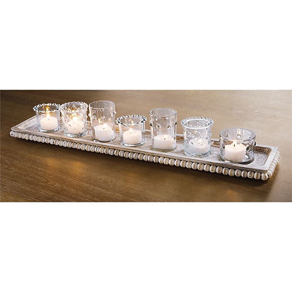 Whitewashed Beaded Tray w/ Votives