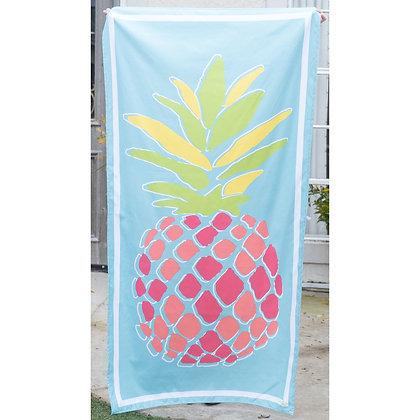 Pineapple Microfiber Beach Towel in Aruba Blue/Melon
