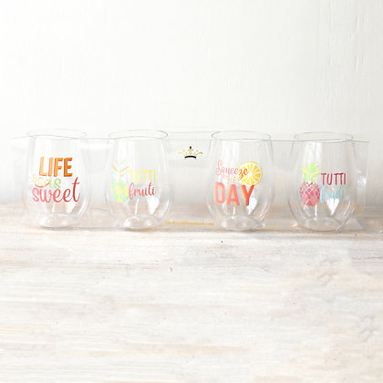 Tutti Fruiti  Stemless Wine Glasses