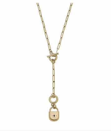 Skylar Padlock T-Bar Y Necklace in Worn Gold
