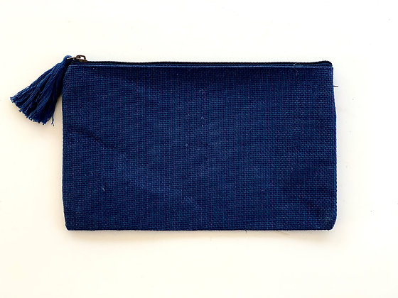 Navy Jute Cosmetic Bag