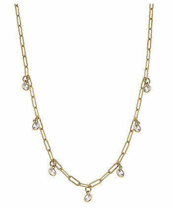 Lyra Paperclip Chain Rhinestone Drip Necklace in Worn Gold