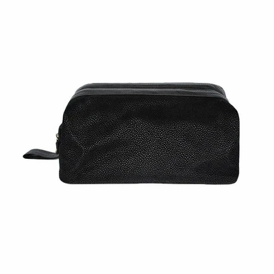 Black Leather Look Dopp Kit