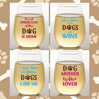 Winey Dogs Stemless Wine Glasses