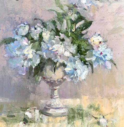 Elegant Whites by Nancy Tankersley, oil 18x18 $3300