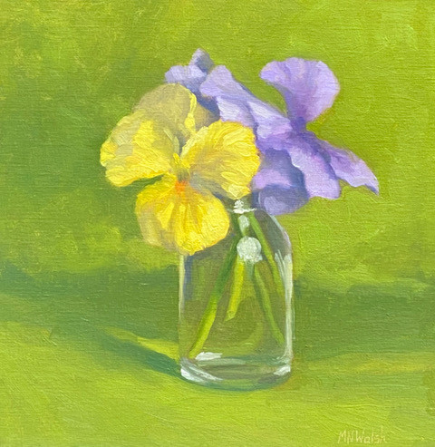 Pansies by Meg Walsh, oil 12x12 $900