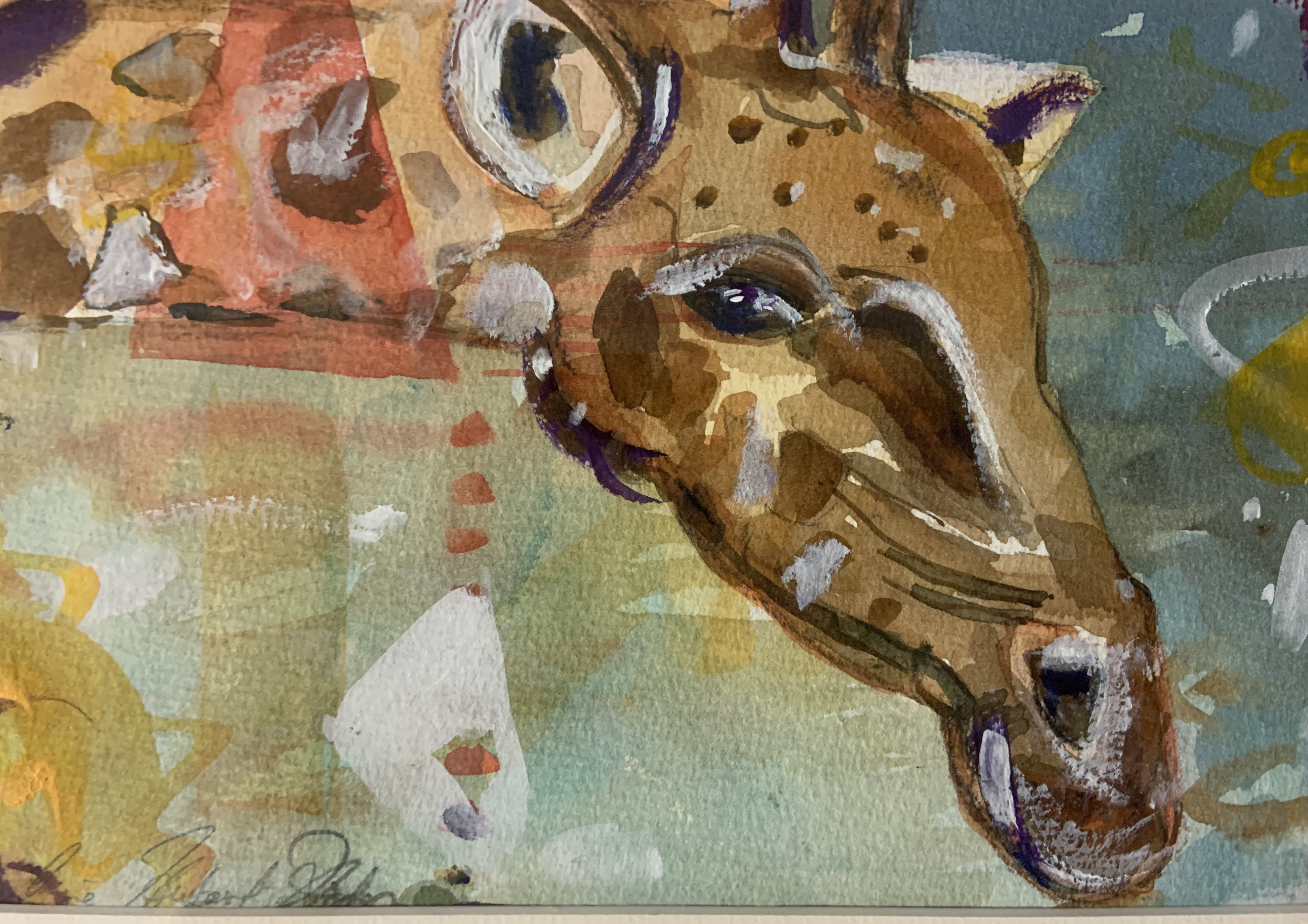 Giraffe Being Curious-Hodges, watercolor $350