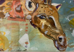 Giraffe Being Curious-Hodges, watercolor 111x14 $350