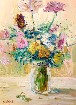 Still Life with Wildflowers(yellow)-Haynes, oil 18x24 $1450