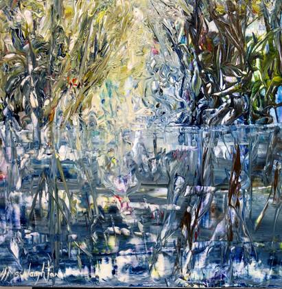 Light Beneath The Willow, acrylic 12x12 $325