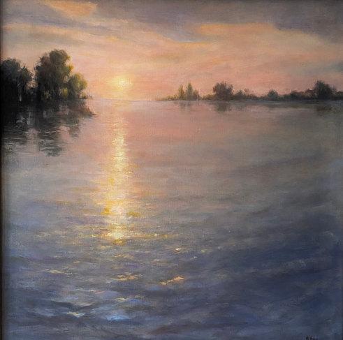 Sunlit Sparkles on Knapps Narrows-Veiga, oil 24x24 $1600