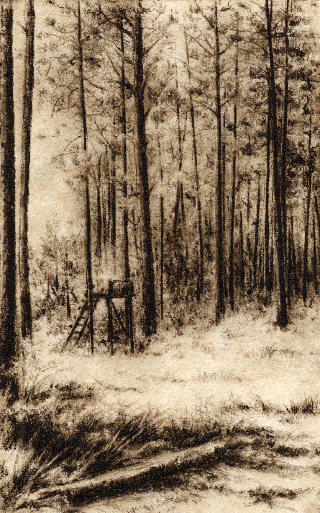 Carlton Woods-Fain, watercolor/etching $325