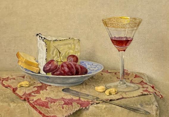 Doneka Fontina with Grapes-Plumb, oil 8x11 $1100