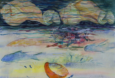Underwater Viewing, watercolor mixed media 37x29 $1950