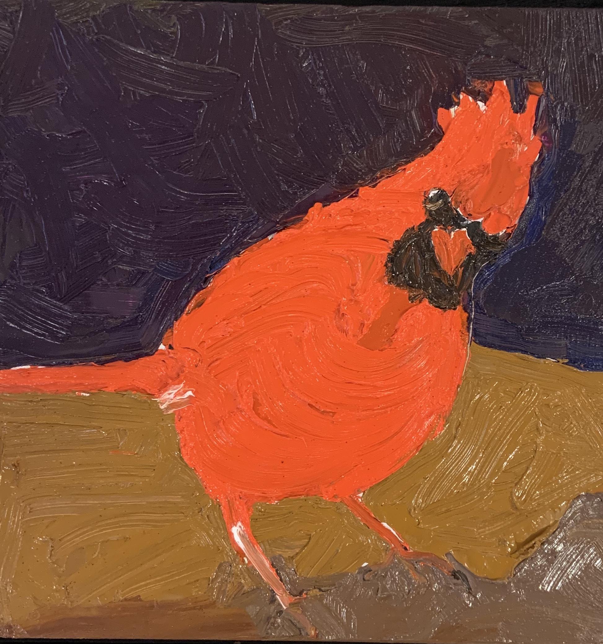 Cardinal, oil 8x8 $450