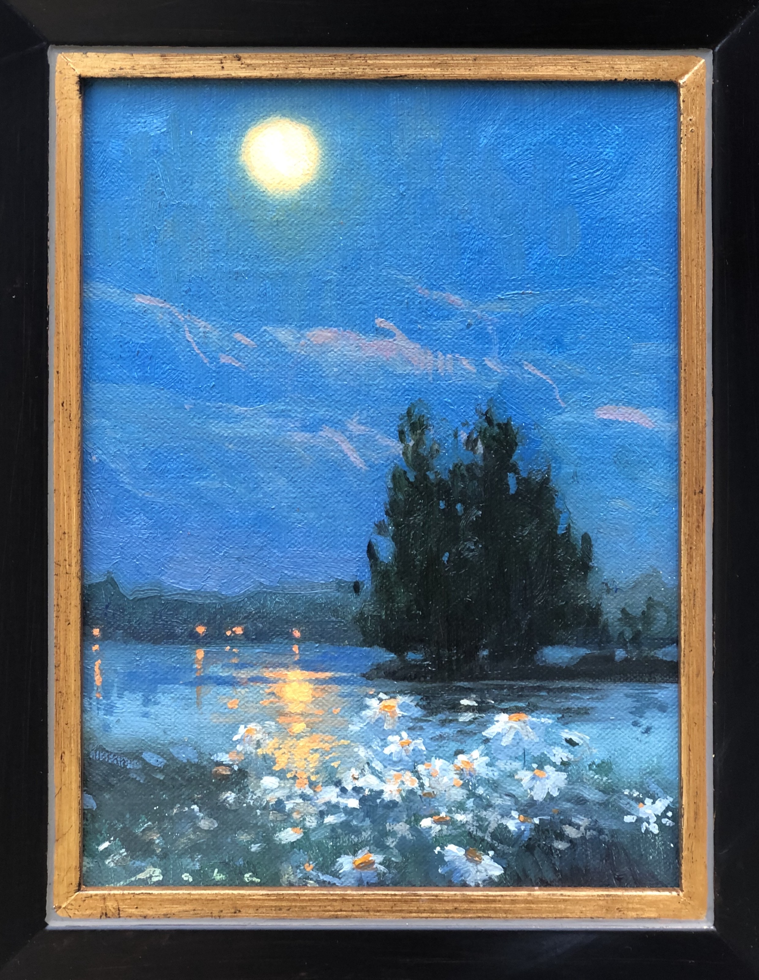 Daisies and the Moon-Babak, oil 6x8 $500