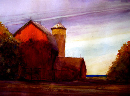 Sunset Barn-watercolor Mayer 22x25 $2250