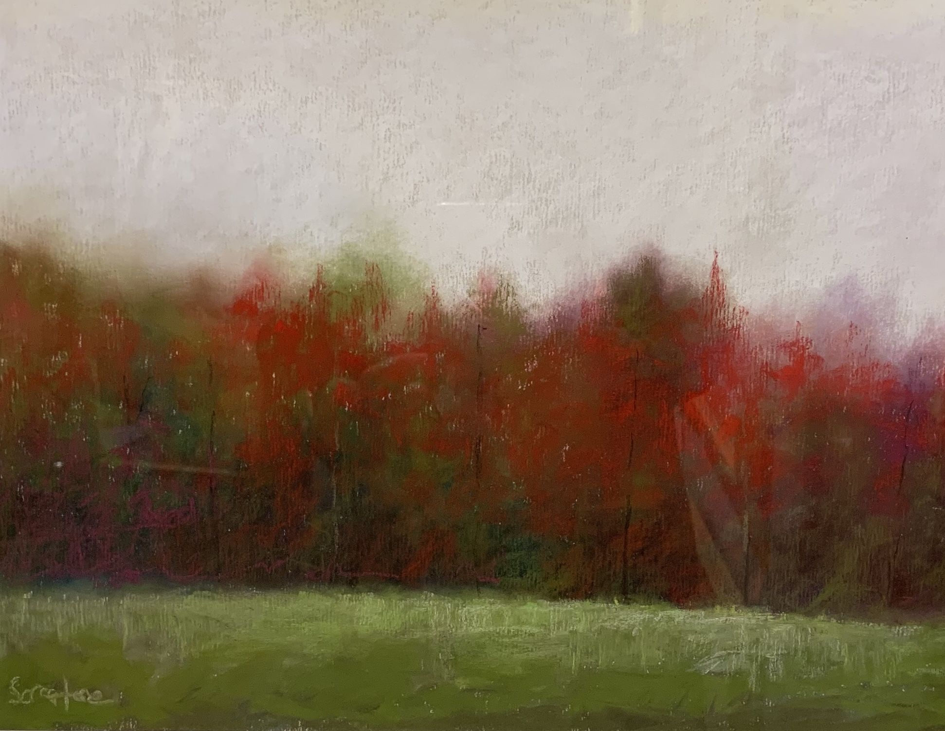 Red Winter Woods-Serratore, pastel 10x14$650