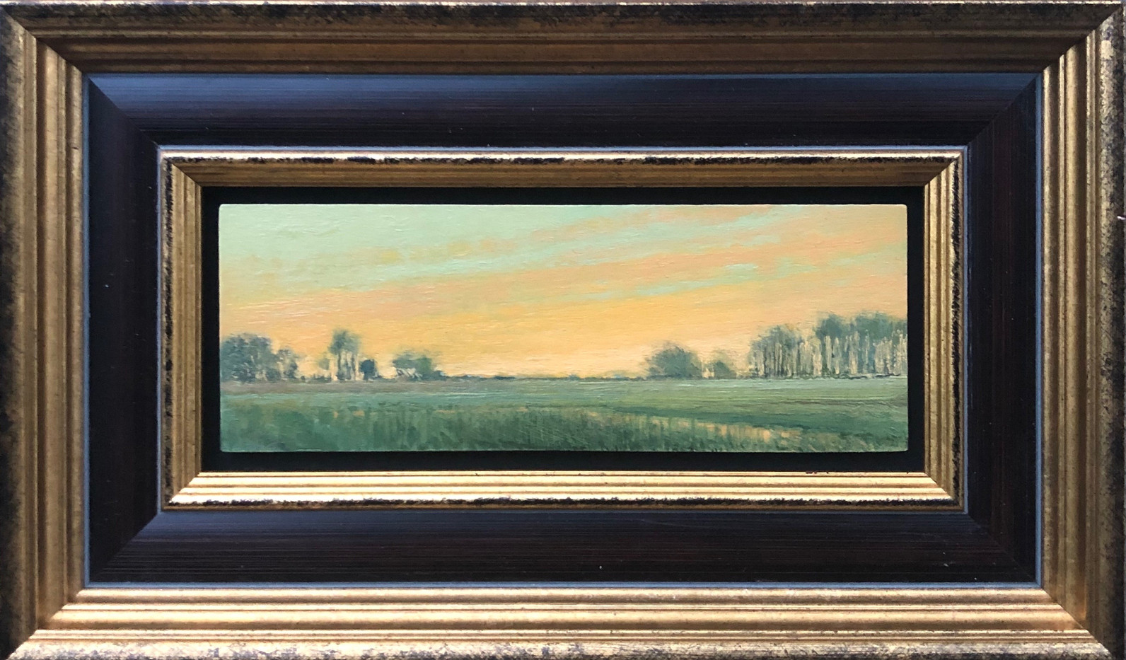 Summer Orange Sunset by Crista Pisano, oil 2x5.75 $700