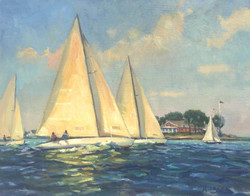 Sailing Past the Tred Avon Yacht Club, oil 11x14 $1800