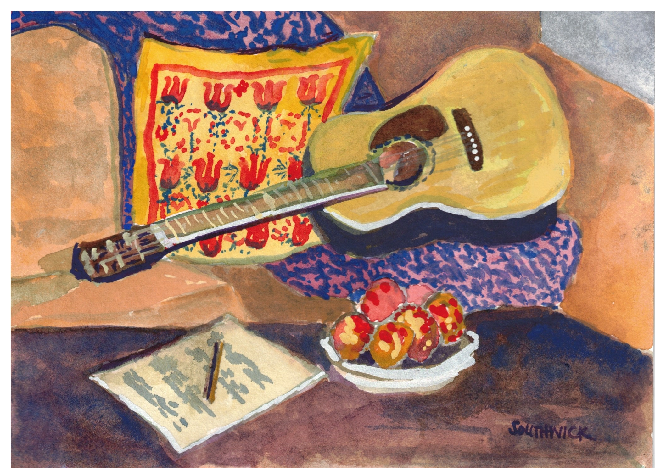 Apples and Guitar, watercolor 5x7 $325