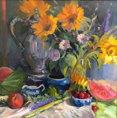 Summer's Bounty by Nancy Tankersley, oil 20x20 $3450