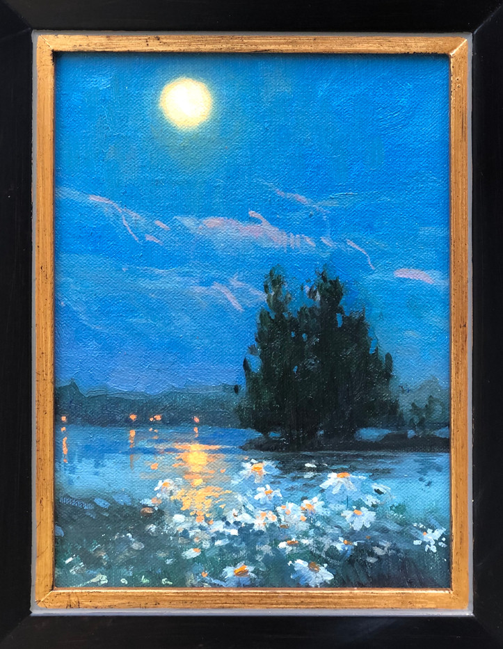 Daisies and the Moon by Olena Babak, oil 6x8 $500