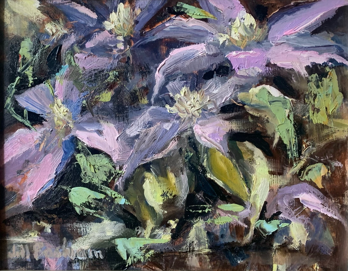 Clematis by Jill Basham, oil 8x10 $1000