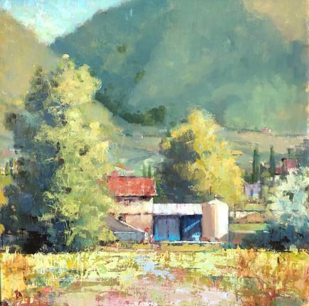 Umbrian Farm, oil 16x16 $2900