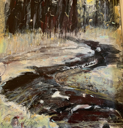 Midnight Creek, acrylic 12x12 $500