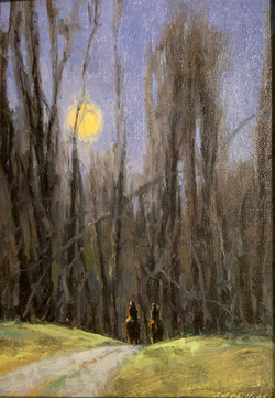 Moonlit Ride, oil 6x8 $675