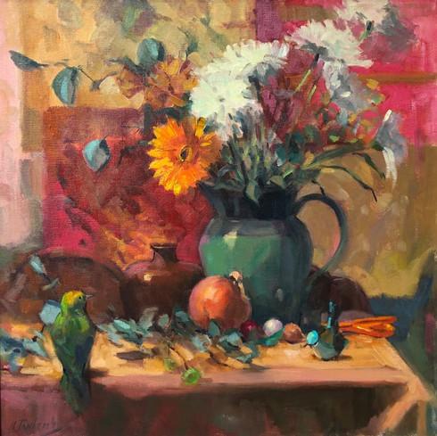 Two Birds by Nancy Tankersley, oil 24x24 $4200