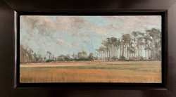 Blue Sky and Pines-Pisano, oil 2.75x5.75 $775