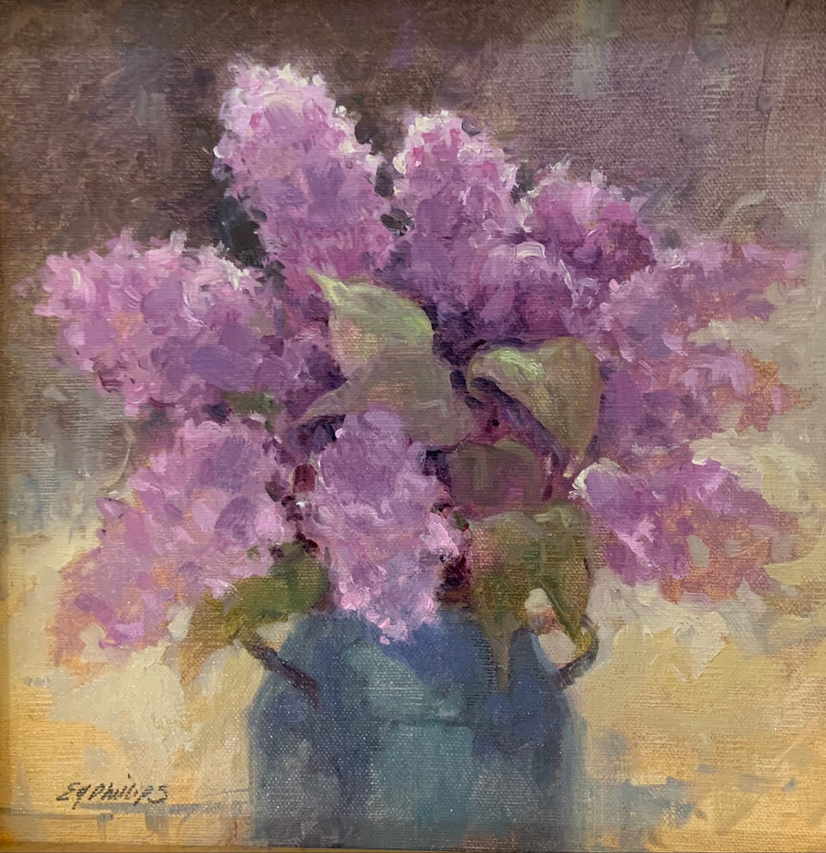 Lilacs by Elise Phillips, oil 8x8 $750